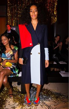 Solange Knowles colorblocks in navy and red at the Vivienne Westwood F/W '15 show // Paris Fashion Week