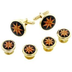 Compass Rose Star Cufflinks and Shirt Stud Formal Set. Made in the USA. Seems cool for a gift for Dan since he likes to travel so much