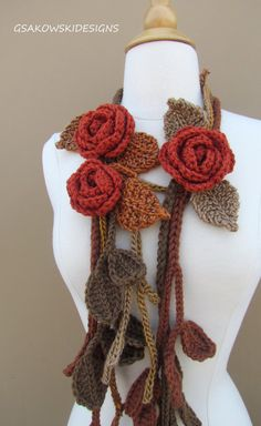 scarves, cowls, shawls and wraps Brown Things brown color earrings Diy Crochet And Knitting, Freeform Crochet, Crochet Scarves, Lace Knitting, Yarn Projects, Crochet Projects, Crochet Designs, Crochet Patterns, Knitted Flowers