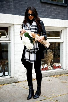 All Black Winter Outfit with Plaid Scarf
