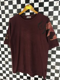 0cd356955b Vintage Sukajan Shirt Medium Mens 90's Sukajan Japanese Phoenix Bird Short  Sleeves Streetwear Tattoos Style Maroon Shirt Size M
