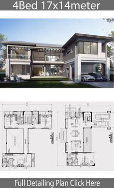 haus design Home design plan with 4 bedrooms. Modern house style, two-story building, contemporary style design useful space Approximately three Beautiful House Plans, Dream House Plans, House Floor Plans, Contemporary House Plans, Modern House Plans, Contemporary Style, Plan Ville, Modern Villa Design, Architectural House Plans