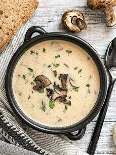 Frugal Food Items - How To Prepare Dinner And Luxuriate In Delightful Meals Without Having Shelling Out A Fortune This Rich And Creamy Garlic Mushroom Soup Is Perfect For Fall With It's Deep Earthy Flavors. Present With Crusty Bread For Dipping Creamy Garlic Mushrooms, Creamed Mushrooms, Stuffed Mushrooms, Stuffed Peppers, Garlic Soup, Garlic Minced, Easy Mushroom Recipes, Mellow Mushroom Soup Recipe, Creamy Mushroom Soup