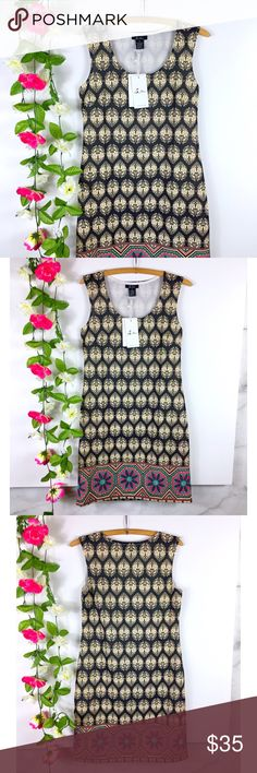"""5TH & Love Printed Boutique Sheath Dress 5th & Love multi print/color sleeveless sheath dress  Size small with stretch - bust 17"""" length 34""""  non sheer  New with tags 5th & Love Dresses Midi"""
