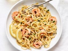 Get dinner on the table in a half-hour or less with these quick and easy recipes. Shrimp Dishes, Shrimp Recipes, Pasta Dishes, Pasta Dinner Recipes, Food Network Recipes, Cooking Recipes, Easy Recipes, Healthy Recipes, Gourmet