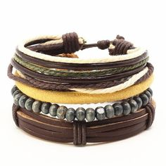 4 Pcs Fashion Vintage Feather Leather Bracelet For Unisex Jewelry Bracelet Set, Leather Men, Women Jewelry, Men's Jewelry, Vintage Fashion, Beaded Bracelets, Beads, Accessories, Type