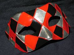 New to TheCraftyChemist07 on Etsy: Masquerade Mask with Red Black and Silver Harlequin Design (39.99 USD)