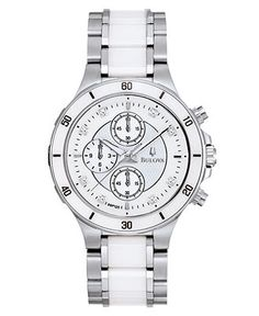 Bulova Watch, Women's Chronograph Diamond Accent Stainless Steel and White Ceramic Bracelet 98P125 - - Macy's