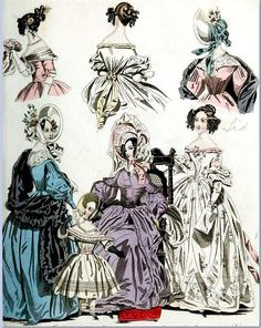 Styles the characters in Echoes in Stone would have worn, including the hero's little daughter.   The World of Fashion and Continental Feuilletons 1836 Plate 47