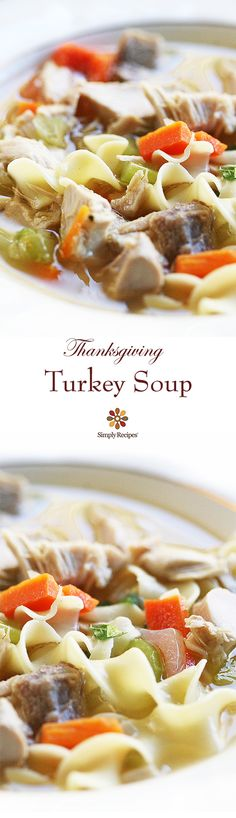 Classic turkey soup recipe! Every Thanksgiving my mother takes what's left of the turkey carcass and makes a delicious turkey soup with the turkey leftovers that we enjoy for days. On SimplyRecipes.com