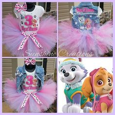 Paw Patrol Tutu set!!!!! Order a set today. Any theme or character. #glitter #twins #birthday #denim ...