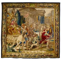"""""""Triumphal Entrance of the Emperor Vespasian in Rome"""" Brussels Tapestry 83k 147.64 in.Hx143.7 in.W 