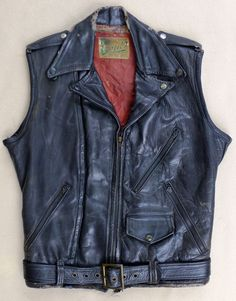 VTG 1940's Grais Black Leather Horsehide Motorcycle Jacket Vest Red Lining MED #Grais #Everyday