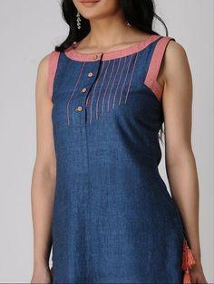 Buy DRAMA SISTERS Indigo Khadi Cotton Kurta with Tassels online in India at best price. Salwar Neck Designs, Neck Designs For Suits, Churidar Designs, Kurta Neck Design, Dress Neck Designs, Kurta Designs Women, Blouse Designs, Salwar Pattern, Kurti Patterns
