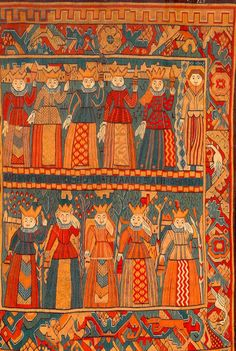 Woven Norwegian - defined by bold colors, shapes and whimsical imagery of kings, queens and prancing horses