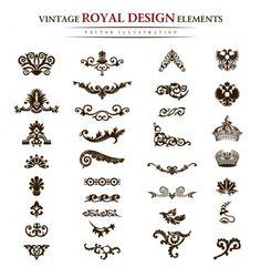 European classic pattern border elements 01 450x478 おしゃれ!ヨーロピアンビンテージスタイルの無料ベクター飾り素材いろいろ(AI・EPS) Free Style