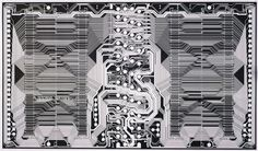 IBM, Burlington, Vermont Dynamic Random-Access Memory Chip (DRAM) 1982 Paper, silicon, and microchip Manufactured by IBM, East Fishkill, NY Gift of the manufacturer Although not designed for aesthetic appeal, this diagram illustrates the intricacy...