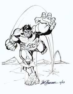 Hulk by Sal Buscema (Marvel) Incredible Hulk, Amazing Spider, Hulk Movie 2003, First Hulk, Hulk Sketch, Sal Buscema, Hulk Art, Hulk Avengers, Black And White Artwork