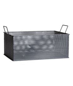 Charcoal gray. Large, rectangular storage basket in perforated metal with handles at short sides. Size 5 x 8 3/4 x 12 1/2 in.