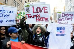 """Allies of Latinos and immigrants marched through Manhattan chanting """"immigrants are welcome here!"""""""