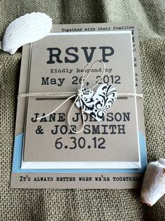 Wedding Invitations  Better Together  Beach  Rustic by kandvcrafts
