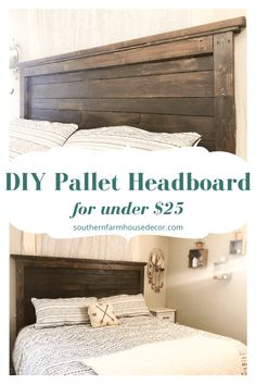 Find out how you can build this easy DIY Wood Pallet Headboard project. This is a great farm style furniture piece for any bedroom! Diy Furniture Decor, Diy Furniture Projects, Diy Pallet Projects, Diy Bedroom Projects, Furniture From Pallets, Pallet Bedroom Furniture, Diy Furniture Cheap, Wood Bedroom, Coaster Furniture