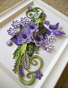 *QUILLING ~ Ayani art: Purple and Green Quilling