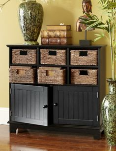 Baskets help you organize supplies, while drawers hide clutter