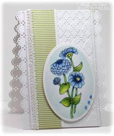 Cindy Lawrence. Flourishes zinnias. copics. CAS card