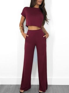 Shyfull Trendy O Neck Wine Red Two-piece Pants Set Two Piece Outfits Pants, Two Piece Pants Set, Crop Top Outfits, Trend Fashion, Look Fashion, Fashion Outfits, Fashion Wigs, Fashion Shirts, Fashion Pants