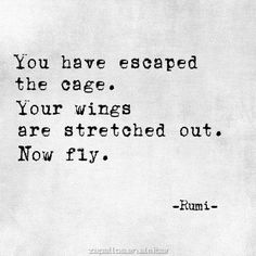 """Now fly"" -Rumi"
