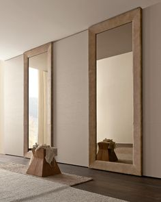 "PRESOTTO | #Wardrobe with Liscia sliding doors in corda color wood and Mirror door with bronze mirror, frame faced with ""aged"" camel leather. _ #Armadio con anta scorrevole Liscia color wood corda e anta Mirror con specchio bronzo e telaio rivestito in pelle ""vissuta"" camel."