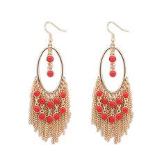 Fashion Hot Gold-color Metal Tassel Dangle Earrings Oversize Pendientes Long Earrings For Women Ethnic Indian Jewelry Women's Earrings, Crochet Earrings, Bohemia Style, World Cultures, Indian Jewelry, Dangles, Handmade Items, Bling Bling, Metal