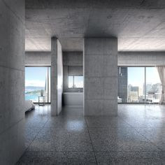 Playing around with concrete, rendering. Interior Rendering, 3d Rendering, Interior Design, Architecture Office, Architecture Design, Stair Bookshelf, Concrete Interiors, Garden Living, Building Facade