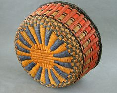 Old Hopi Wicker Woven Basket Bowl 10 x 5 Inch Vivid Earth Colors