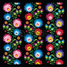 Seamless long Polish folk art pattern - wzory lowickie, wycinanka..