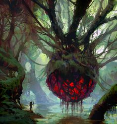 Heart of nature by yakonusuke on fantasy arts ar Dark Fantasy Art, Fantasy Concept Art, Fantasy Kunst, Fantasy Artwork, Dark Art, Fantasy Places, Fantasy World, Fantasy Landscape, Landscape Art