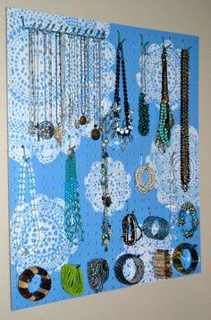 Jewelry Organizer Wall Display, Jewelry Holder, Custom, Hand Painted, Blue