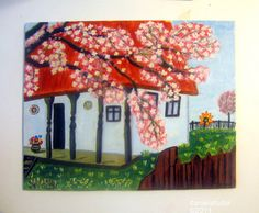Painting inspired by a traditional Romanian house