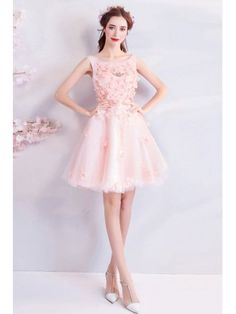 Cute Pink Petals Short Tulle Prom Party Dress With Flowers Girls Bridesmaid Dresses, Prom Party Dresses, Quinceanera Dresses, Formal Dresses, Pink Petals, Flower Dresses, Cute Pink, Flowers Wholesale, Tulle