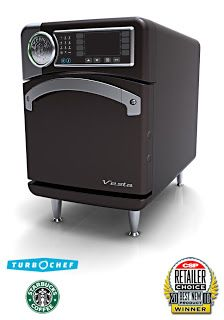 THE STARBUCK'S OVEN - is a convection microwave oven. The brand of oven is called Turbo Chef, and the model is a Sota.