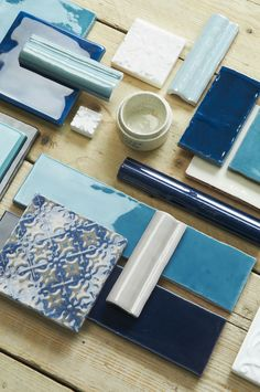 There's a distinctively coastal feel to this blue mood board from The Winchester Tile Company, featuring decorative tiles and mouldings. winchestertiles.com