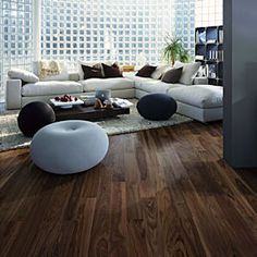 Kahrs Hardwood flooring | Shown here in Walnut City 1-Strip. Can be installed over radiant heat.