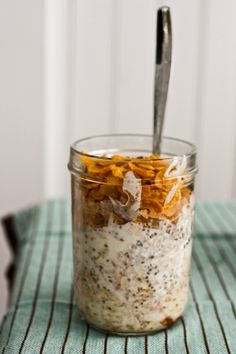 One of my favorite things- overnight oats: raw oatmeal soaked in milk overnight!