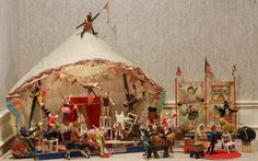 ¤ Albert Schoenhut, was the creator of marvelous toy pianos, intricate circus figures and lifelike dolls who were said to be modeled on his grandchildren's likeness. His family was german and settled in the 1850's in America. They had been in dolls since the 1700's. read the amazing post on the blog !