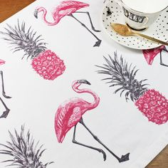 Flamingos and Pineapples Tea Towel by yvonneellen on Etsy https://www.etsy.com/listing/246410799/flamingos-and-pineapples-tea-towel