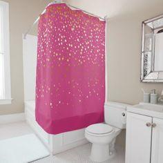 Golden Stars Shower Curtain in Raspberry - shower gifts diy customize creative