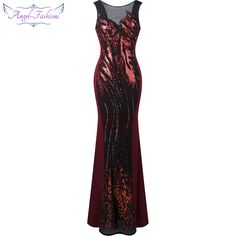 6c47d5b46e0 Angel-fashions Sheer Round Neck Sequin Splicing Backless Mermaid Long  Evening Dresses Burgundy Price