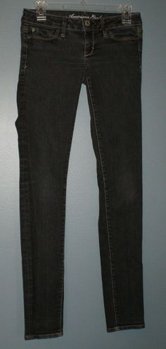 American Eagle black gray wash skinny jeans with stretch, women's size 2 reg. #AmericanEagleOutfitters #SlimSkinny