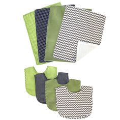 Trend Lab's Perfectly Preppy 8-piece Bib and Burp Cloth Set.  Set features one 4 bibs and 4 burp cloths